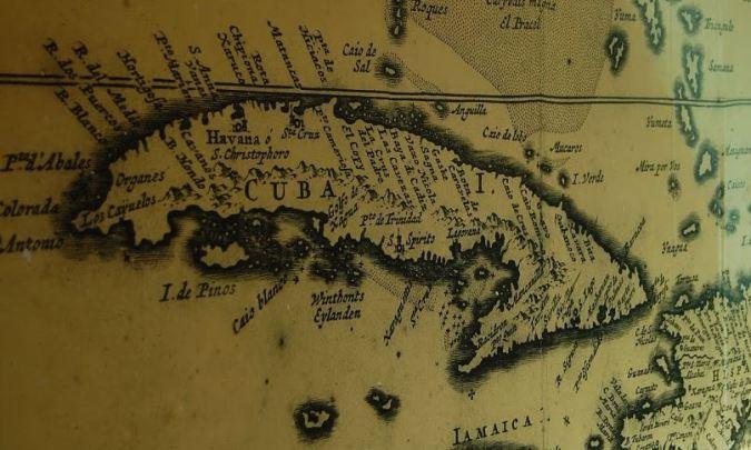 Mapa antigo de Cuba, exposto em um forte de Havana. Foto: Débora Costa e Silva