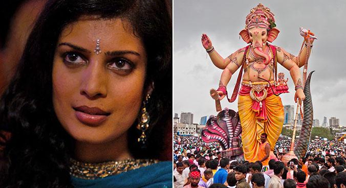 Kala e as ruas de Mumbai tomadas pela festa a Ganesh. Fotos: Divulgação e sandee pachetan/Creative Commons