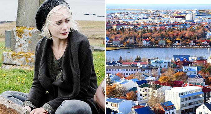 Riley e vista aérea de Reykjavik do alto da igreja Hallgrímskirkja. Fotos: Divulgação e Christine Zenino/Creative Commons