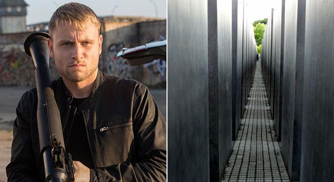 Wolfgam e o Memorial ao Holocausto, em Berlim. Fotos: Divulgação e Creative Commons
