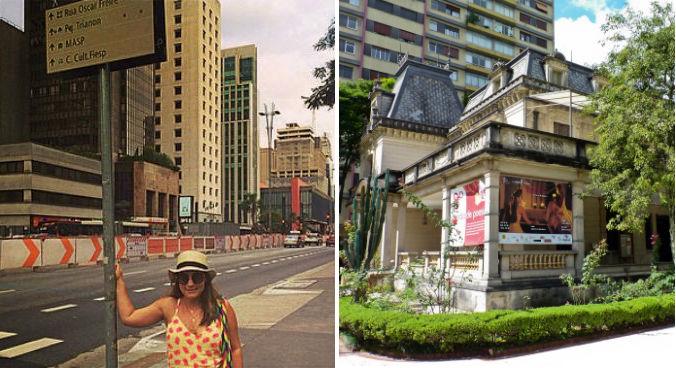 Amanda na avenida Paulista, durante reforma da ciclovia, e ao lado a Casa das Rosas, onde ela frequentava. (fotos: arquivo pessoal + Felipe Lange Borges)