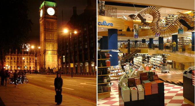 Juliana em frente ao Big Ben, em Londres e, ao lado, a Livraria Cultura, uma de suas paradas obrigatórias na Paulista (fotos: arquivo pessoal e Divulgação)