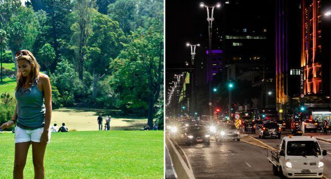 Natália em um parque em Melbourne e, ao lado, a movimentada Avenida Paulista. (fotos: arquivo pessoal + Artur Luiz)