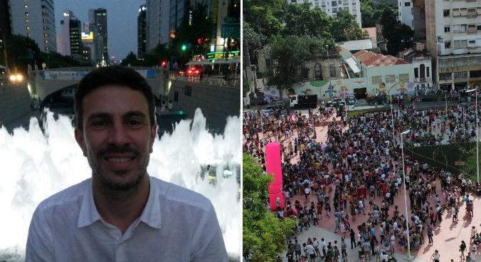 Ricardo em Seul (Arquivo pessoal) e a Praça Roosevelt durante uma festa aberta (Foto: Raphael Tsavkko Garcia)