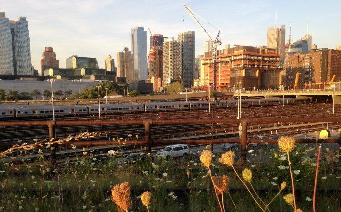Prédio em construção, linha de trem, carros e vegetação: esse é o visual em uma das pontas do High Line. Foto: Débora Costa e Silva
