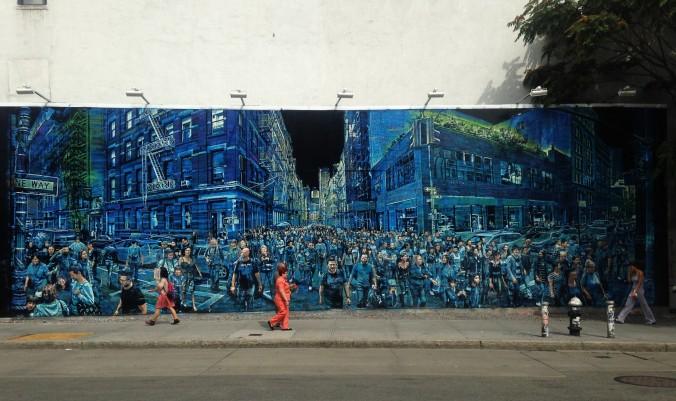Mural grafitado na E Houston Street, na esquina com a Bowery, em Manhattan. Foto: Débora Costa e Silva