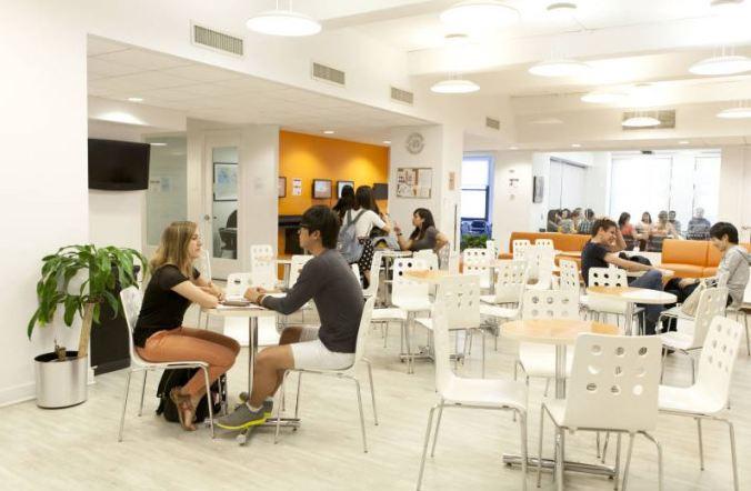 Um dos espaços de convivência da EC English em Nova York. Foto: Reprodução do site EC English